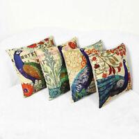 Retro Case Cover Sofa Pillow Oriental Cushion Decor Printing Throw Waist Peacock