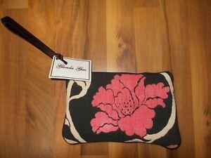 GLENDA GIES PURSE WRISTLET NWT $80 Pink Peonies Daisy Splurge Peony