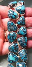 Sterling silver 80gr chunky turquoise double row heavy bracelet.