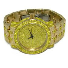 Canary Yellow Iced-Out Watch Gold Finish Hip Hop Lemonade Micro Pave Bling