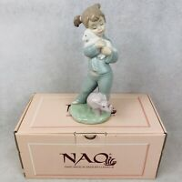 "Nao By Lladro Special Friends 7.5"" Figurine Girl with Lamb Elephant 1129 w/ Box"