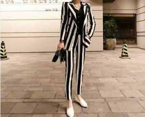 Black & white striped ladies trouser suit