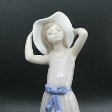 Vintage Lladro Girl Holding Her Hat Figurine Made In Spain