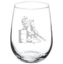 17oz Stemless Wine Glass Female Barrel Racing Cowgirl