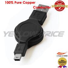 2.0 USB A to Mini USB B 5-pin Retractable Adapter Cable Camera USB (Black) -0.8M