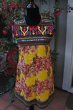 Floral yellow Cotton Kurta or Summer dress with aari work - bust 36