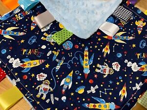 SPACE THEMED BABY/TODDLER TAGGY BLANKET/COMFORTER/GIFT ****MANY OPTIONS*****