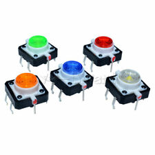 5pc 12×12×7.3mm 5 Color Momentary Tact LED Tactile Push Button Switch DC 12V L49