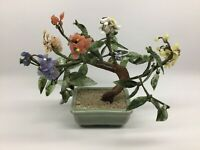 Vintage Jade Bonsai Tree Coral Blossoms Signed Celadon Pot Estate Find