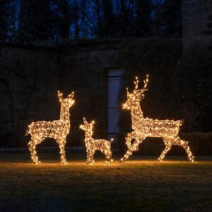 LED Rentier Figur Rattan Optik Außen Weihnachten Beleuchtung Timer Lights4fun