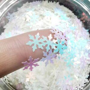 3D Holographic Laser Glitter Xmas Snowflake Nail Sequins Art Décor Paillettes
