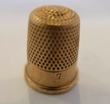 Antique 14K Yellow Gold Size 7 monogrammed Thimble Ketcham & McDougall NY NY USA