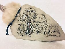 Ceramic Faux Stone 3 Wolves Warrior Brave Arrowhead Shape 3D Art Statue Fur Trim