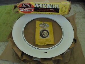 "NOS 37-46 LYON Wide White Wall Trim Beauty Rings 16"" Set 4 Wheel Hubcap Surround"