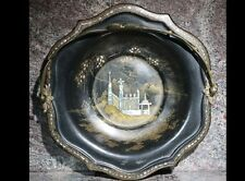 English 19th Century Paper Mache Serving Dish Mother of Pearl with Bronze Handle