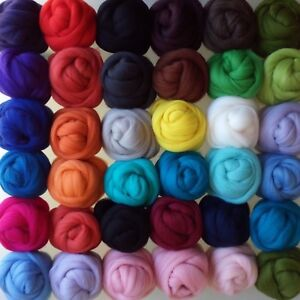 64 Colours, Pure Natural Merino Wool Top Roving Felting and Crafting, 30 - 150 g