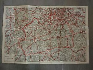 """Vintage Geographia Cloth backed Map of Surrey 20"""" x 30"""""""