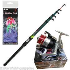TELESCOPIC NGT FISHING BEACHCASTER ROD 12FT + REEL SEA BEACH + Mackerel Feathers