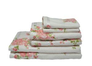 Cream Rose Floral Printed 100% Cotton Towel 400 Gsm