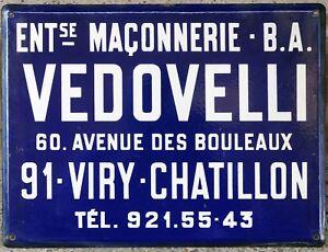 Old blue French enamel building sign plaque notice Vedovelli mason builder Paris