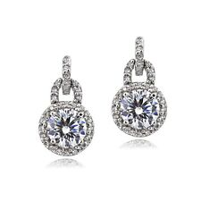 Platinum Plated 925 Silver 100 Facets Cubic Zirconia Dangle Earrings (2ctttw)