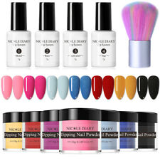 NICOLE DIARY 12Pcs/set Glitter Dipping Powder Acrylic Nail Art Brush Starter Kit
