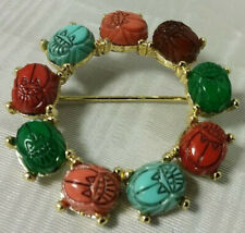 Vintage Ancient Eqyptian Revival Carved Lucite Scarab Goldtone Circle Brooch
