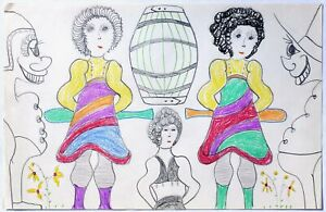 Drawing of women and much more, on white paper by Outsider Artist Lewis Smith.