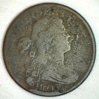 1803 Draped Bust Copper Large Cent Early Penny Type Coin S263 Variety Good 1c