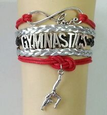 GYMNASTICS LEATHER CHARM BRACELET SILVER-ADJUSTABLE-RED/SILVER/BLACK-SPORTS-#43
