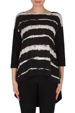 Joseph Ribkoff Black/White Stripe Hi-Lo Hem Tunic Top US 10 UK 12 NEW 182789