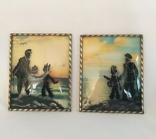 Reverse Painted Silhouette SAILOR SEA BOY Convex Bubble Glass Framed Pictures 2
