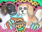 Tibetan Spaniel Dog 5x7 Art Print Vintage Style by Artist KSams Coffee Dogs