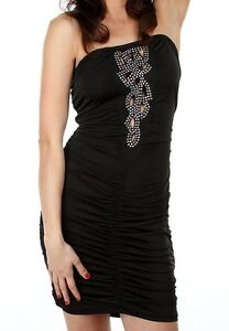WOMENS CLOTHING SEXY BLACK STRAPLESS DRESS WITH A DESIGN FRONT