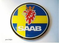 Enamel Chrome Swedish flag SAAB Car Badge Sweden 95 93 Aero 900