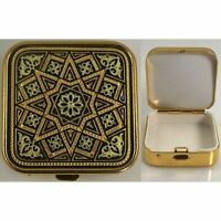 Damascene Gold Star Design Small Square Pill Box by Midas of Toledo Spain 8527