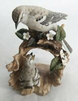 Vintage Homco 1979 Porcelain Masterpiece Mockingbird & Baby Bird on Log Figurine