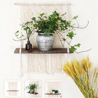 Macrame Plant Hanger Platform Basket Bohemian Hand Woven Tapestry Wood Pot Shelf