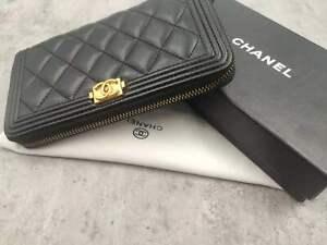 Chanel CC gold buckle black stitched zipper wallet