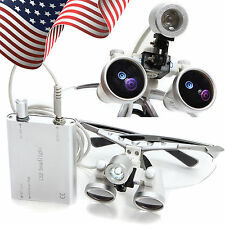 USA Dentist Dental Surgical Binocular Loupes 3.5X 420mm with LED Head Light Lamp