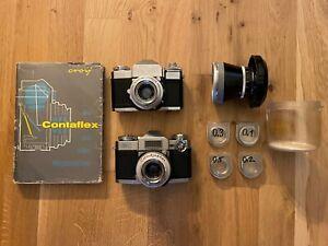 Zeis Ikon Contaflex Tessar 50mm 2,8f Set + Buch, Proxar-Set & ProTessar 115m 1:4