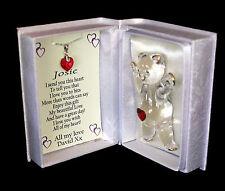 Cristal Rouge Collier Coeur Valentine Cadeau Inhabituel Personnalisé Teddy Box #8