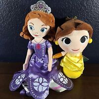 "2 NEW Disney Plush Set BELLE Funko Plush & SOFIA THE FIRST stuffed 13"" Doll lot"