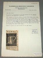 1951 Ken McKenzie Signed NHL Hockey Letter