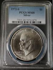 :1972-S $1 Eisenhower Silver Dollar Ultra-Superb Rare PCGS MS-68 Highest-Grades