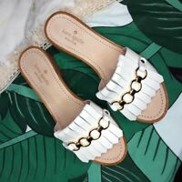 Kate Spade New York Beau Pebbled Chain Slide Sandals Leather Sz 8.5 White