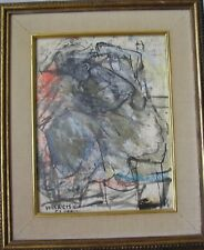 Original 1957 Anibal Villacis Mid Century Informalist Mixed Media Painting