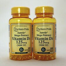 Puritan's Pride Mega-Potency Vitamin D3 5000 IU 200 Softgels 100 x 2 Supplement