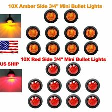 "20X Red Amber Mini 12V 3/4"" Round Marker Light Clearance 3 LED Bullet US Ship"
