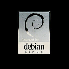 Powered by debian Linux Metal Decal Sticker Case Computer PC Laptop Badge